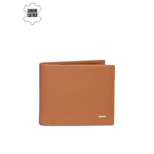 Woods Men Tan Brown Solid Two Fold Leather Wallet