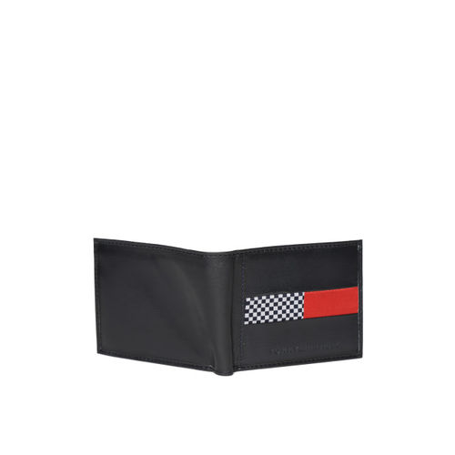 Tommy Hilfiger Men Navy Leather Solid Two Fold Wallet