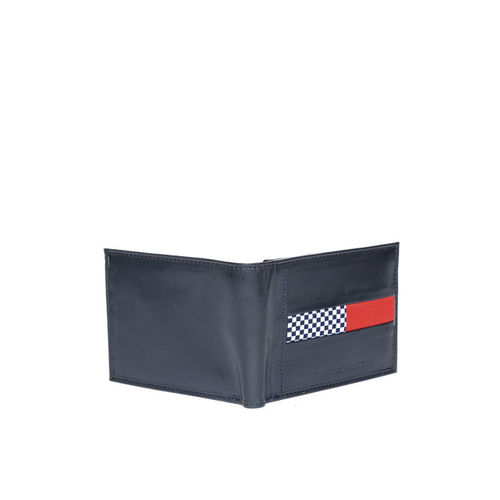 Tommy Hilfiger Men Navy Blue Leather Two Fold Wallet