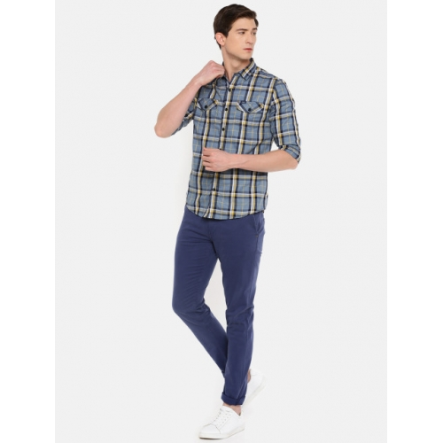 Lee Grey & Blue Cotton Checked Casual Shirt
