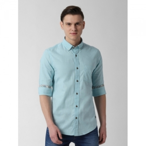 Peter England Casuals Blue Cotton Solid Casual Shirt