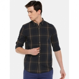 Lee Blue & Brown Cotton Checked Slim Fit Casual Shirt