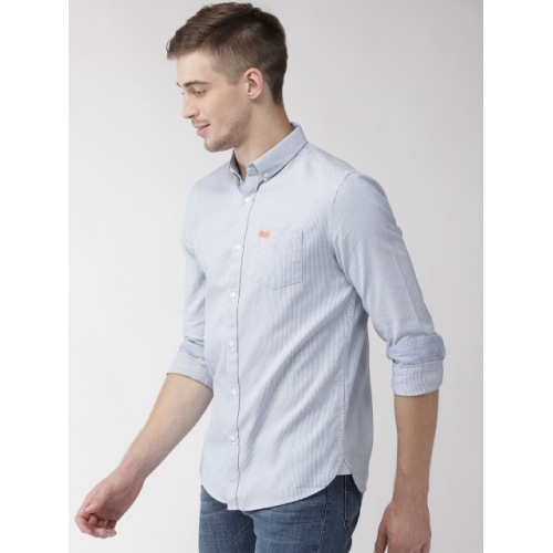 Superdry Blue  Cotton Striped Regular Fit Casual Shirt