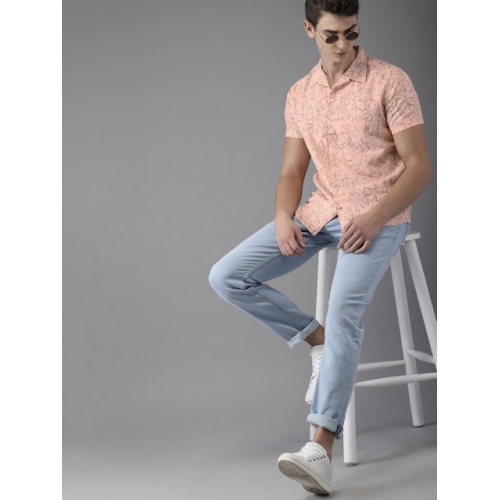 HERE&NOW Peach Cotton Printed Slim Fit Casual Shirt