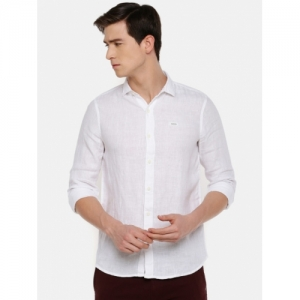 Lee White Linen Solid Slim Fit Casual Shirt