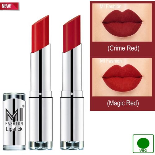 MI FASHION 100% Veg and Vitamin e Enriched Long Stay Soft Matte Addiction Lipstick(Crime Red, Magic Red, 7 g)