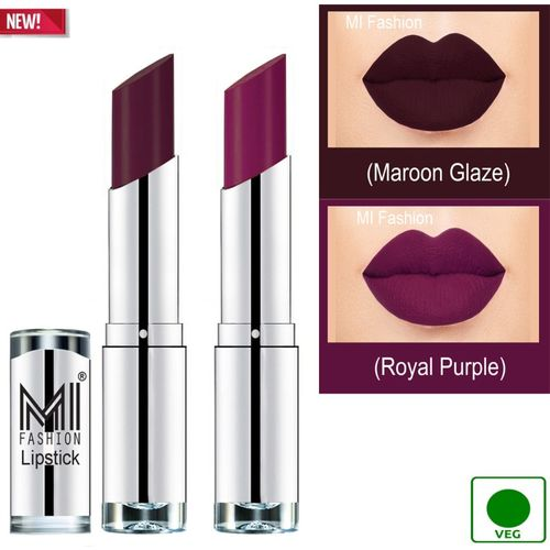 MI FASHION 100% Veg and Vitamin e Enriched Long Stay Soft Matte Addiction Lipstick(Maroon Glaze, Royal Purple, 7 g)