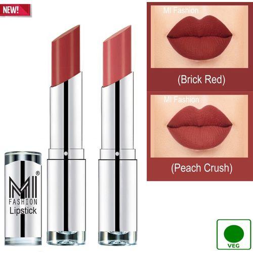 MI FASHION 100% Veg and Vitamin e Enriched Long Stay Soft Matte Addiction Lipstick(Peach Crush, Brick Red, 7 g)