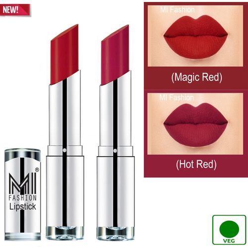 MI FASHION 100% Veg and Vitamin e Enriched Long Stay Soft Matte Addiction Lipstick(Magic Red, Hot Red, 7 g)