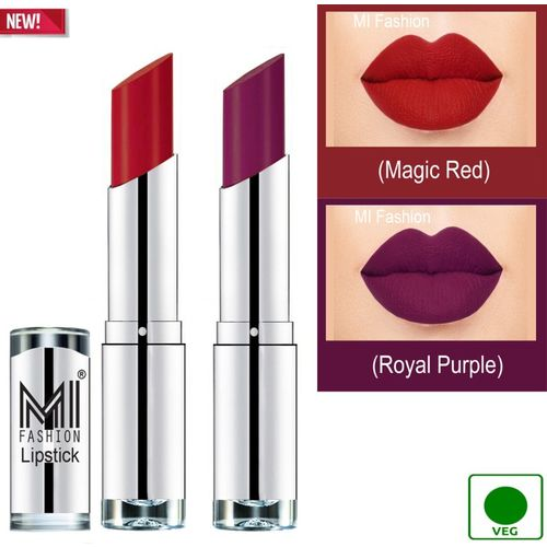 MI FASHION 100% Veg and Vitamin e Enriched Long Stay Soft Matte Addiction Lipstick(Royal Purple, Magic Red, 7 g)