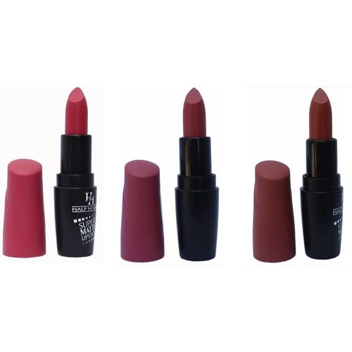 Half N Half Super Matte Lipsticks Set of 3 ( 16 HOT RED, 17 BERRY PUNCH, 18 GREEDY LADY)(Multicolor, 3.6 g)