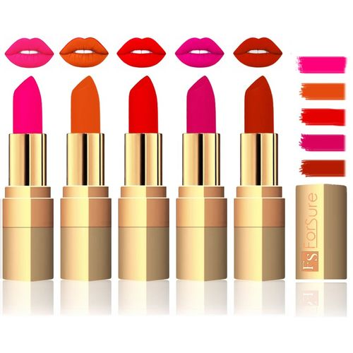 Forsure Extra Soft & Smooth Velvet Matte Lip Color Combo(Peach,Light Brown,Sweet Red,Purple,Chocalate, 17.5 g)