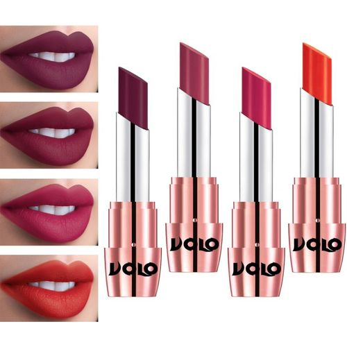 Volo Perfect Creamy with Matte Lipsticks Combo, No more dry lips(Coral, Wine, Passion Pink, Rose Pink, 14 g)