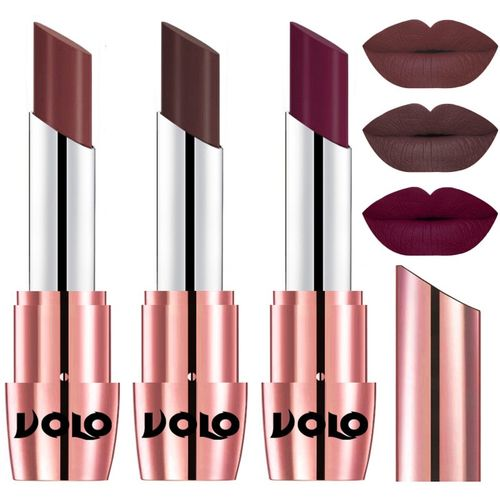 Volo Perfect Creamy with Matte Lipsticks Combo, Lip Gifts to love(Coffee, Wine, Chocolate, 10.5 g)