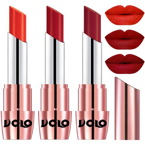 Volo Perfect Creamy with Matte Lipsticks Combo, Lip Gifts to love(Coral, Tomato Red, Red, 10.5 g)