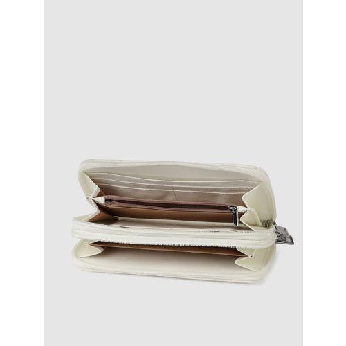 Caprese Women White Quilted Zip Around Wallet
