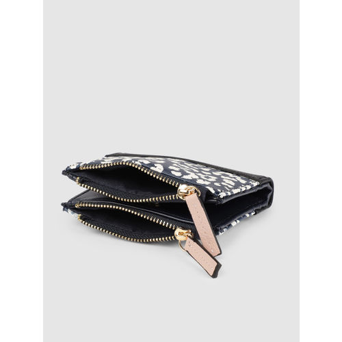 Accessorize Women Blue & White Printed Two Fold Wallet