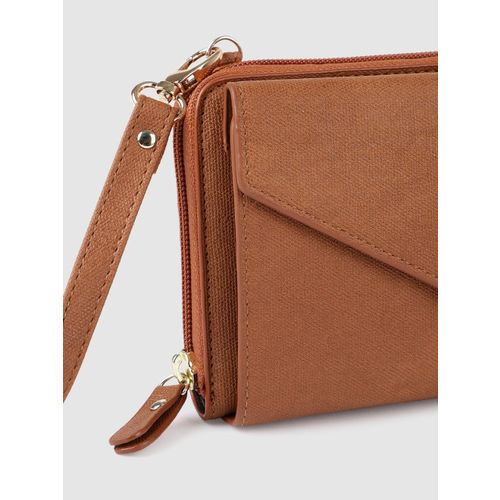 E2O Women Tan Brown Solid Zip Around Wallet