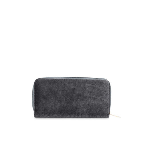 Satchel Bags Women Charcoal Grey Self Design Zip Around Wallet