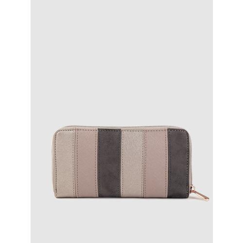 Caprese Women Dusty Pink & Charcoal Grey Striped Zip Around Wallet