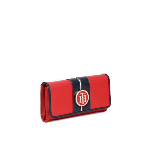 Tommy Hilfiger Women Red Solid Three Fold Wallet