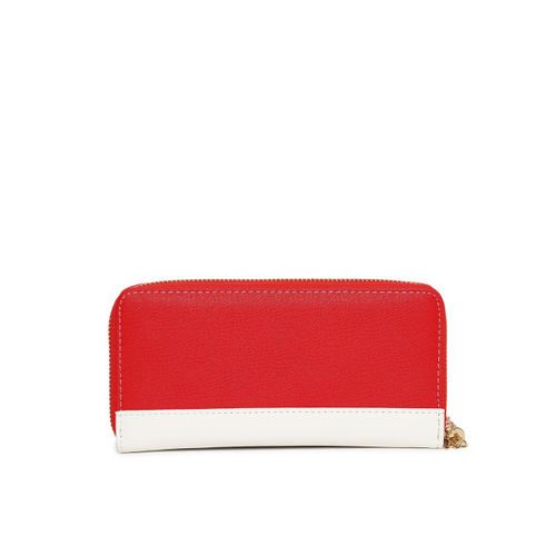 United Colors of Benetton Women Red & White Colourblocked Zip Around Wallet