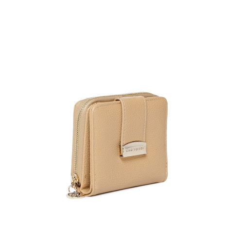 Lino Perros Women Beige Textured Two Fold Wallet