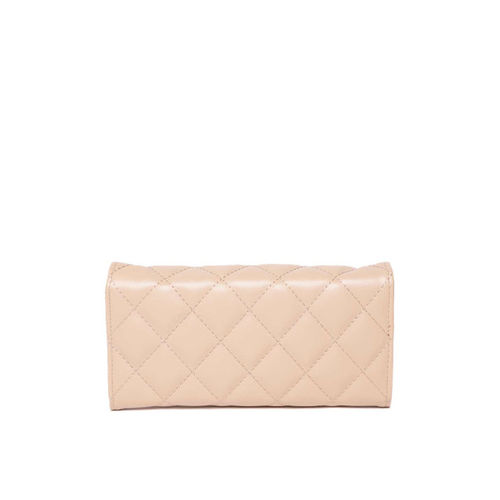 DressBerry Women Peach-Coloured Quilted Three Fold Wallet
