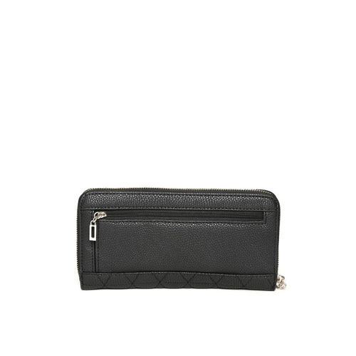 GUESS Women Black Quilted Zip Around Wallet with Embellished Detail