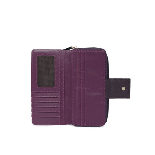 Lavie Women Purple & Silver-Toned Solid Zip Around Wallet