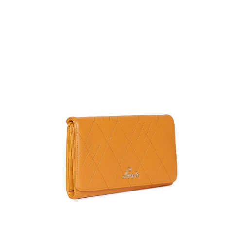 Lavie Women Yellow Textured Three Fold Wallet
