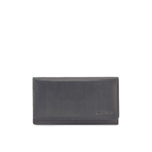 CALFNERO Women Black Leather Solid Two Fold Wallet