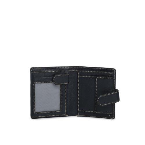Aditi Wasan Women Black Solid Two Fold Leather Wallet