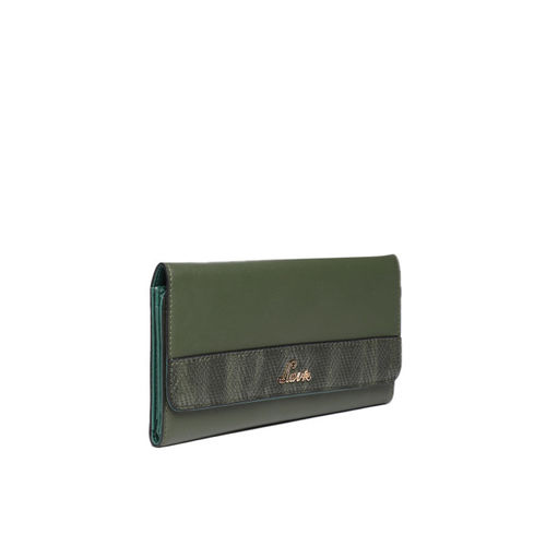 Lavie Women Olive Green Solid Three Fold Wallet