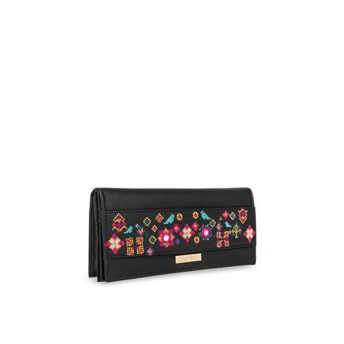 Chumbak Women Black Textured Two Fold Wallet