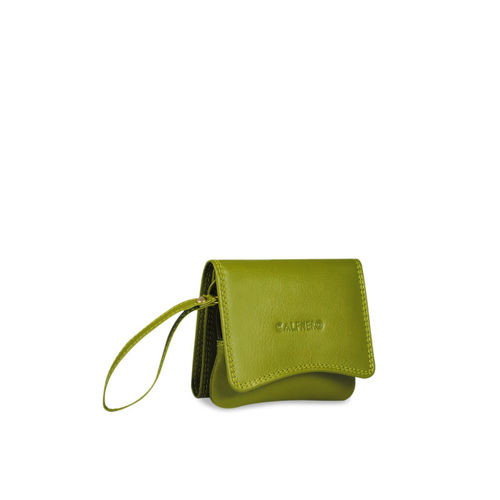 CALFNERO Women Green Solid Leather Two Fold Wallet