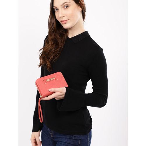 Caprese Women Coral Solid Zip Around Wallet