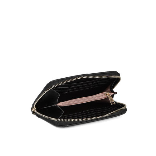 Caprese Women Black Solid Zip Around Wallet