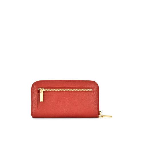 Eske Women Brown Solid Zip Around Leather Wallet