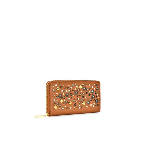 Eske Women Tan Brown Solid Leather Zip Around Wallet