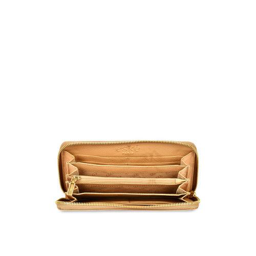 Eske Women Beige Embellished Leather Zip Around Wallet