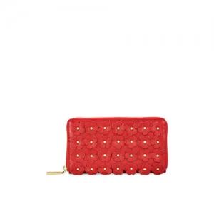 Eske Women Red Solid Embellished Leather Zip Around Wallet
