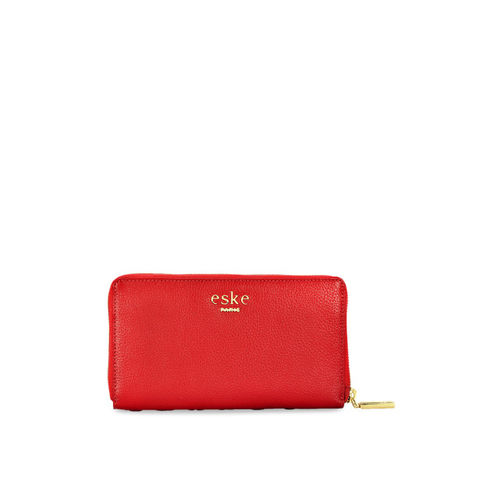 Eske Women Red Solid Embellished Leather Zip Around Wallet