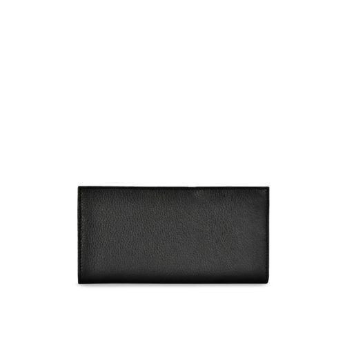 Eske Women Black Solid Leather Three Fold Wallet