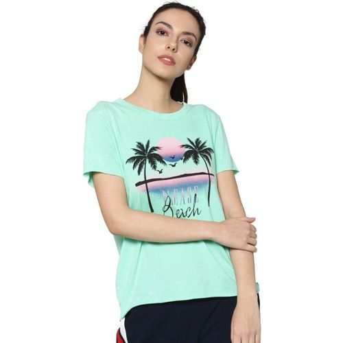 Only Printed Women Round Neck Green T-Shirt