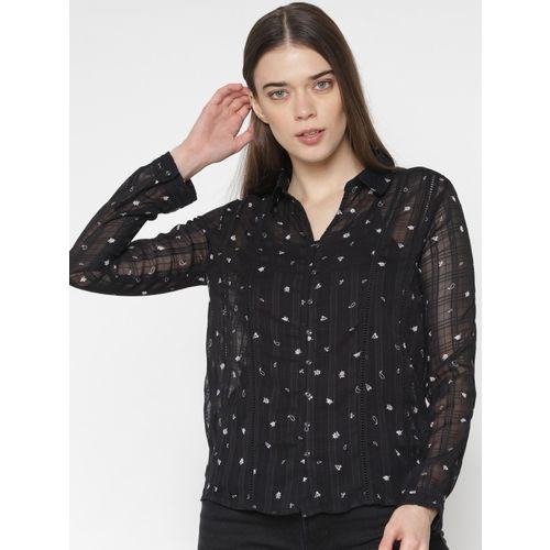 Only Women Printed Casual Black Shirt