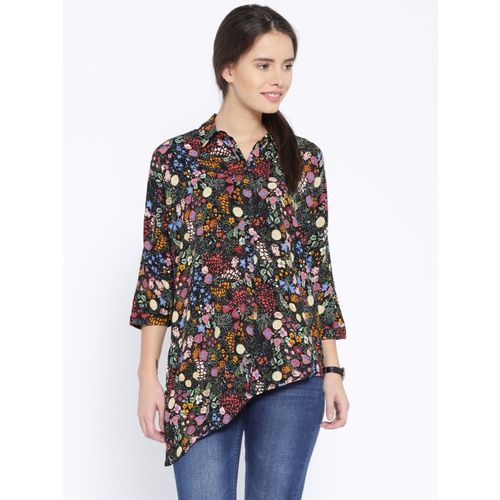 Only Women Floral Print Casual Black Shirt