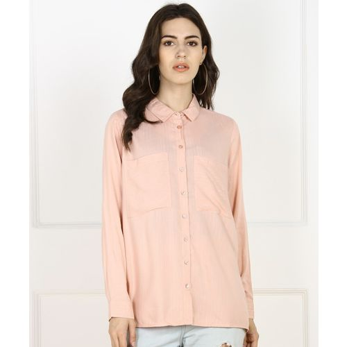Only Women Striped Casual Pink Shirt