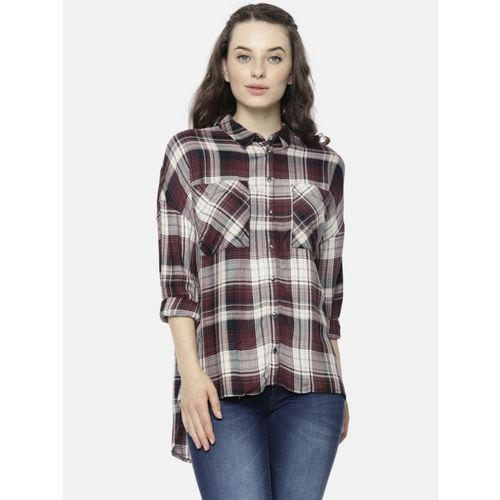 Only Women Checkered Casual Maroon, White Shirt
