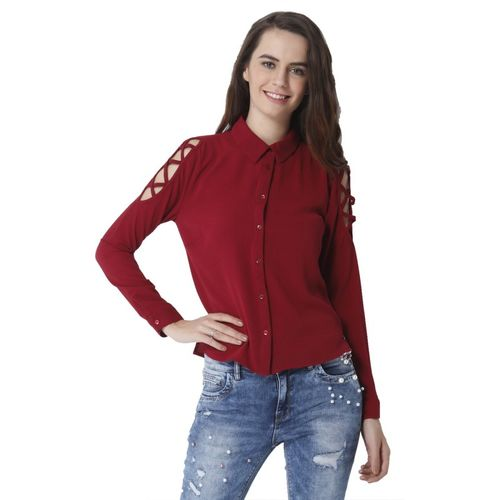 Only Women Solid Casual Red Shirt